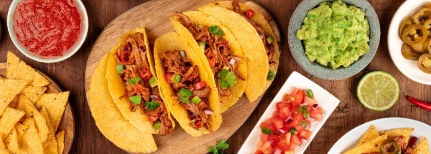 taco platter on wood table