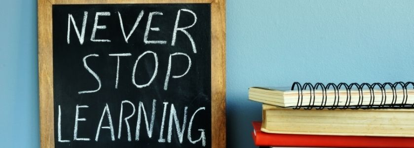 always learning - chalkboard with text in classroom
