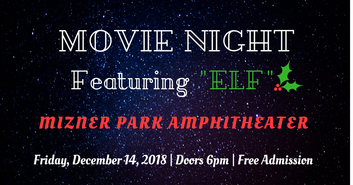 Dark Starlit Sky background with event information for Movie Night Featuring Elf at Mizner Park Amphitheater