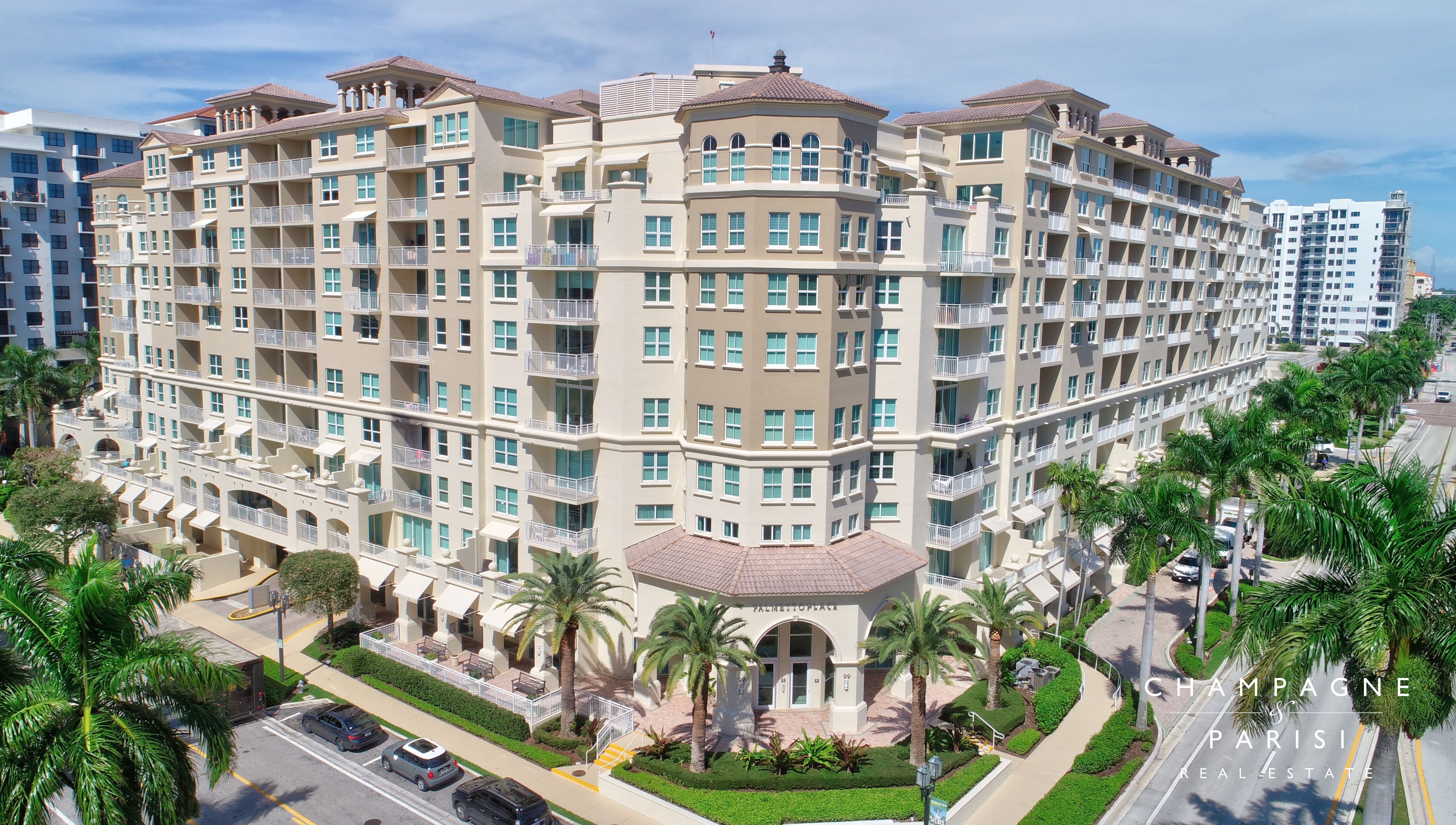 Exterior of Palmetto Place Condo Building in Downtown Boca Raton