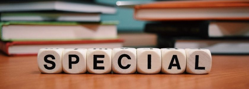 the word 'specialization' written in letter cubes