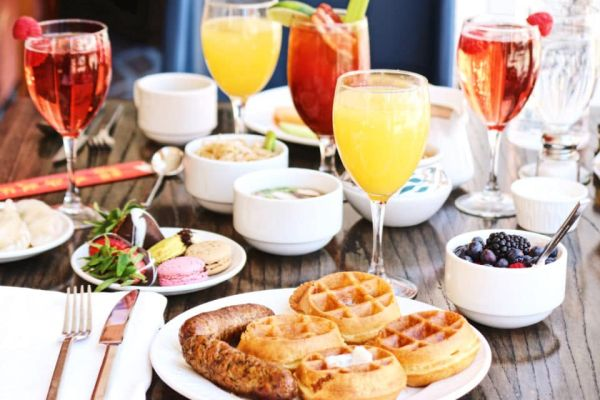 brunch meal laid across table