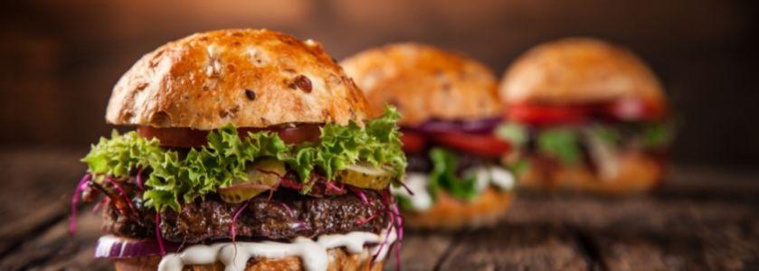 burger trio on multigrain bun