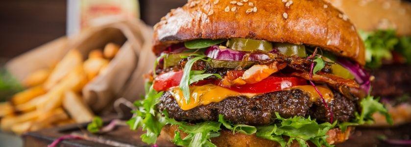 gastropub burger with fries