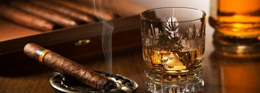 lit cigar in ashtray