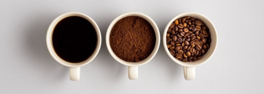 3 different coffee flavors in mugs