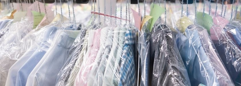 dry cleaned shirts in plastic