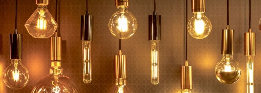 edison lights in vintage interior