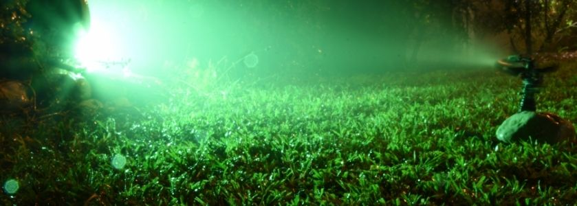 sprinklers running at night