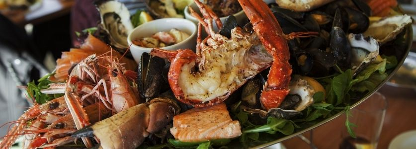 fresh lobster tail and shellfish