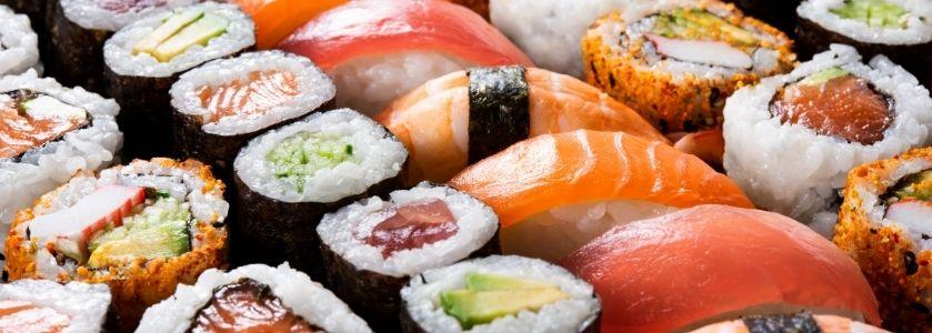 rows of handmade sushi