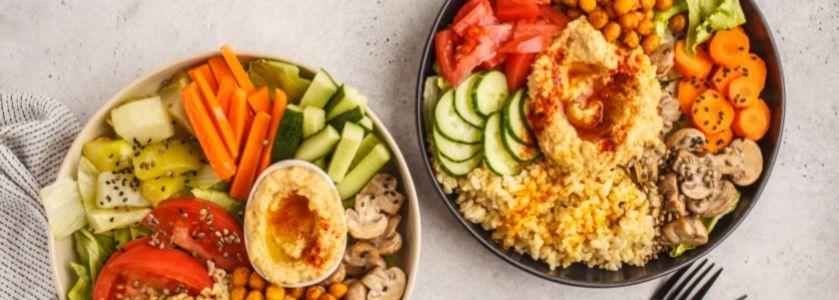 vegan food in 2 bowls