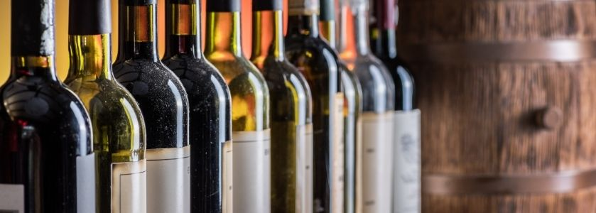 row of various wine bottles