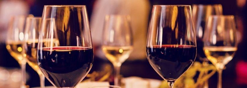 half filled wine glasses
