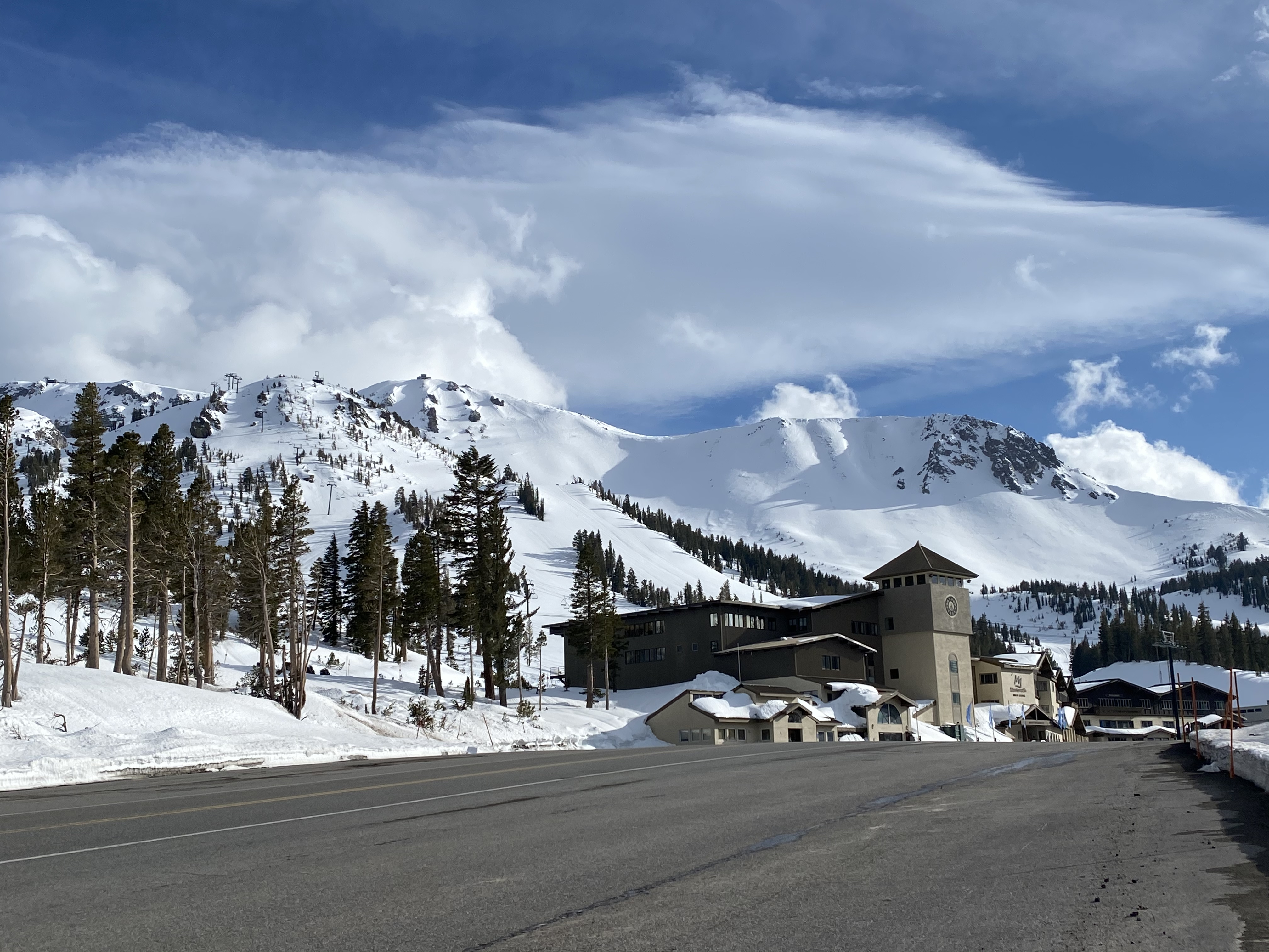 Main Lodge on April 15th and Mammoth Mountain with feet of new snow