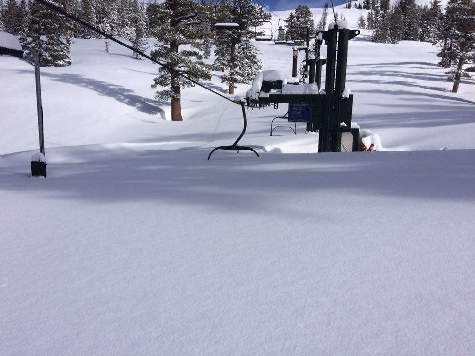 BURIED CHAIR LIFT AT MAMMOTH MOUNTAIN JANUARY 2017