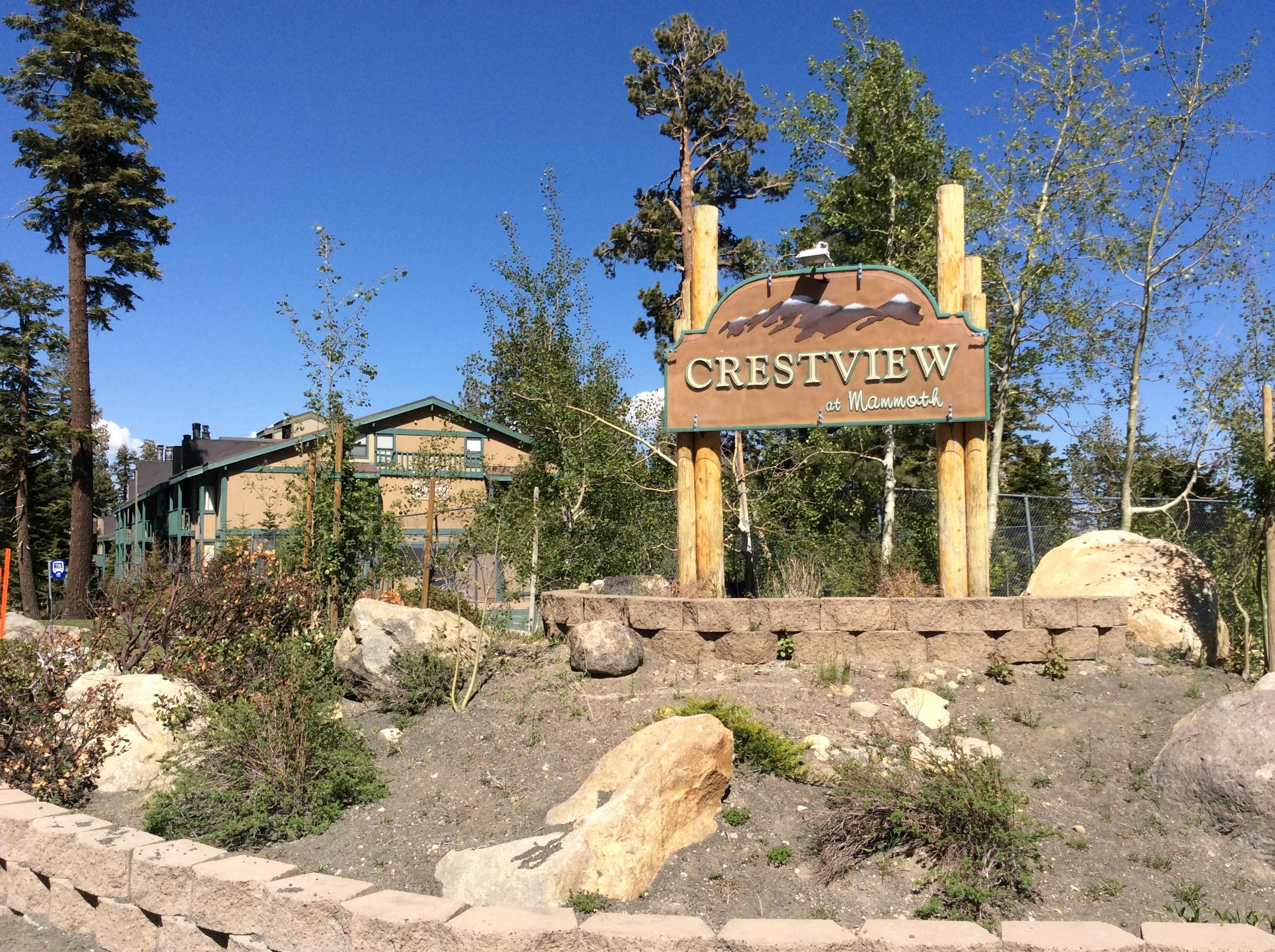 Crestview Complex Sign in Summer