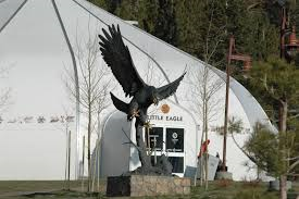 Eagle Lodge and Eagle Sculpture at Base of Eagle Express Chairlift