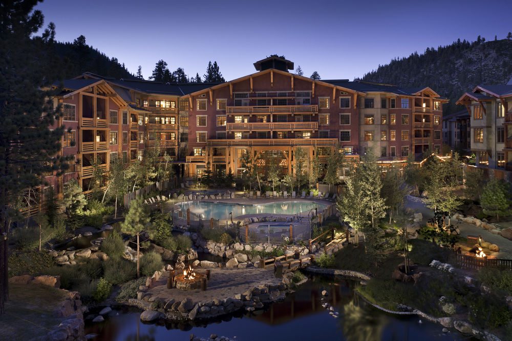 Grand Sierra Lodge at Dusk with Pool and Reflection Pond