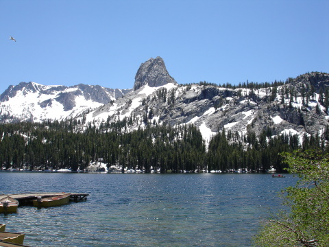 Lakes Basin with Snow Covered Peaks in Background