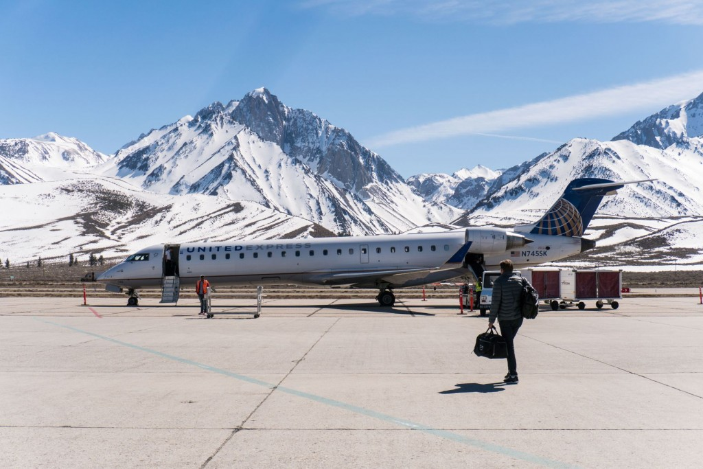 United Airlines Plane Boarding Passengers at Mammoth Lakes Airport
