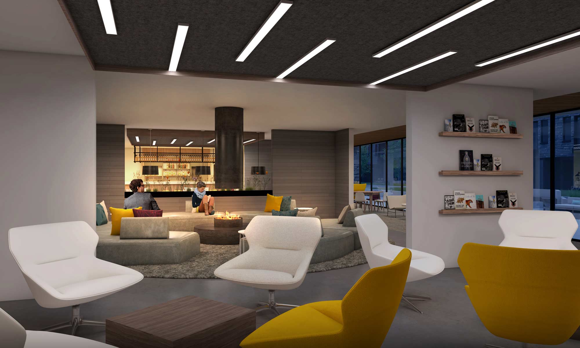 YotelPAD Mammoth Lakes Fireplace Lounge Rendering