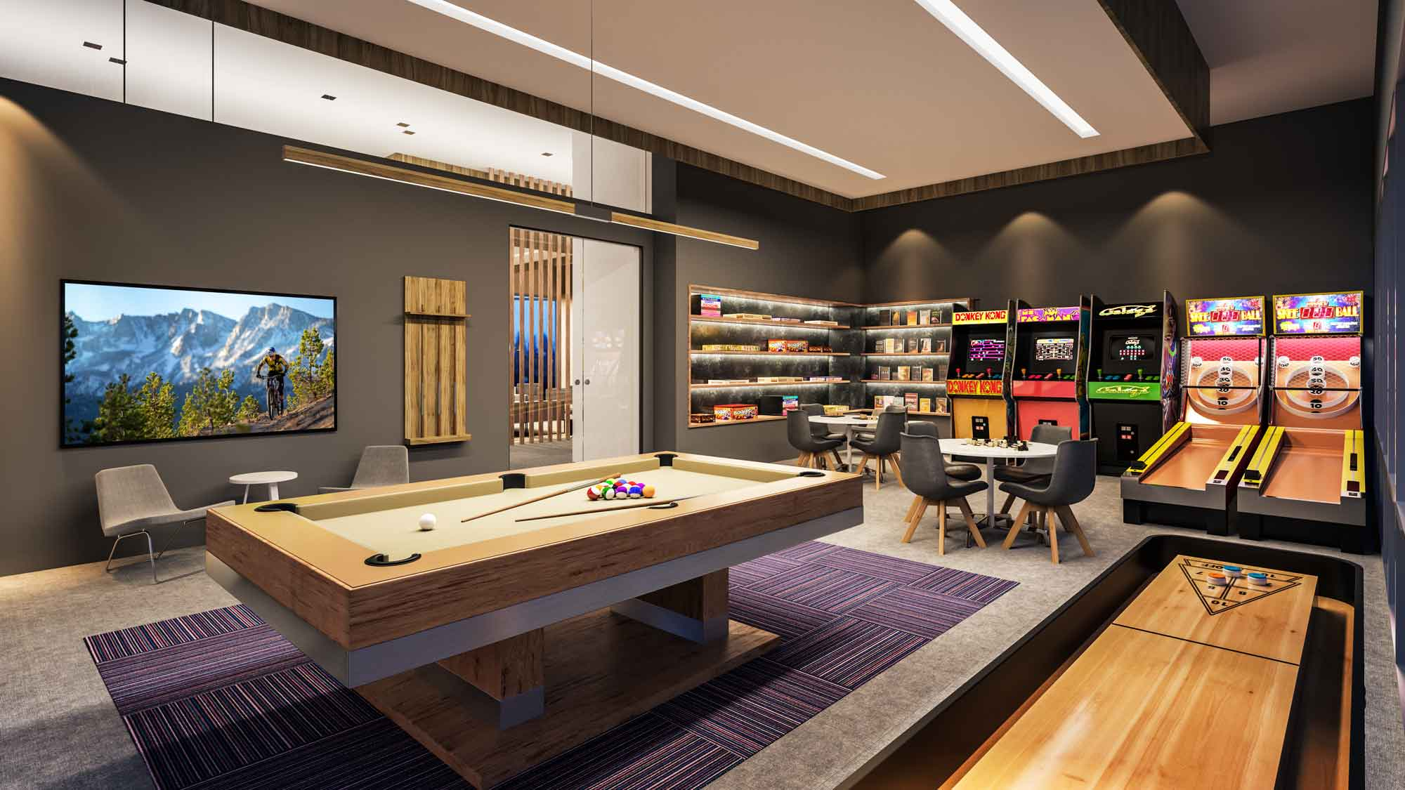 YotelPAD Mammoth Lakes Game Room Rendering