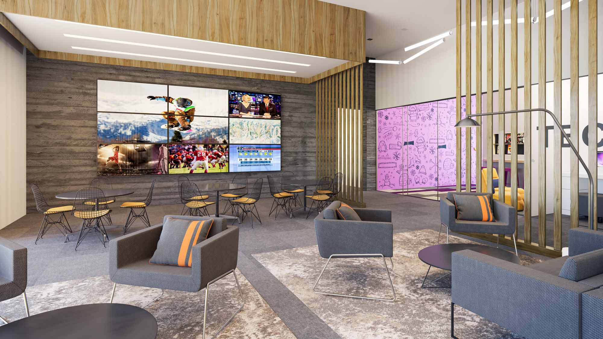 YotelPAD Mammoth Lakes TV Lounge Area Rendering