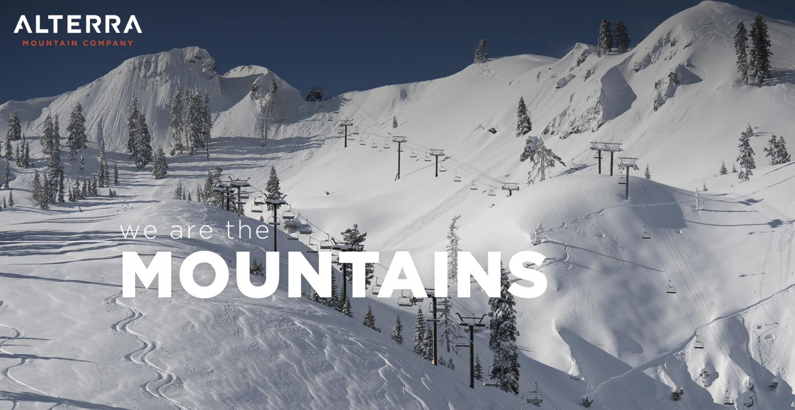 Alterra Mountain Company Logo with Mammoth Mountain in Winter Snow
