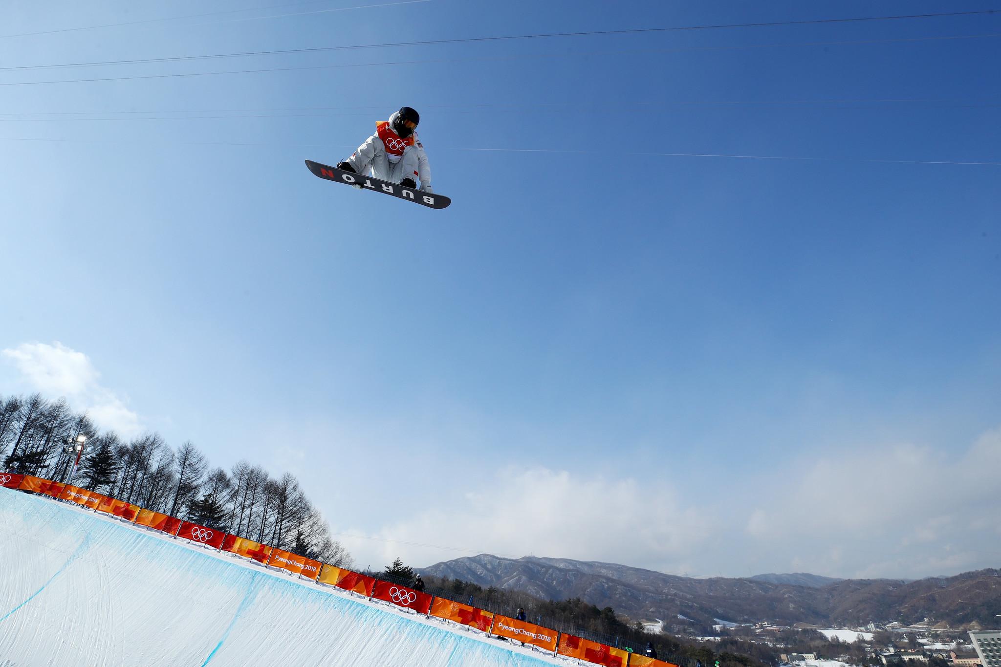Shaun White at Pyeong Chang Olympics in Half Pipe