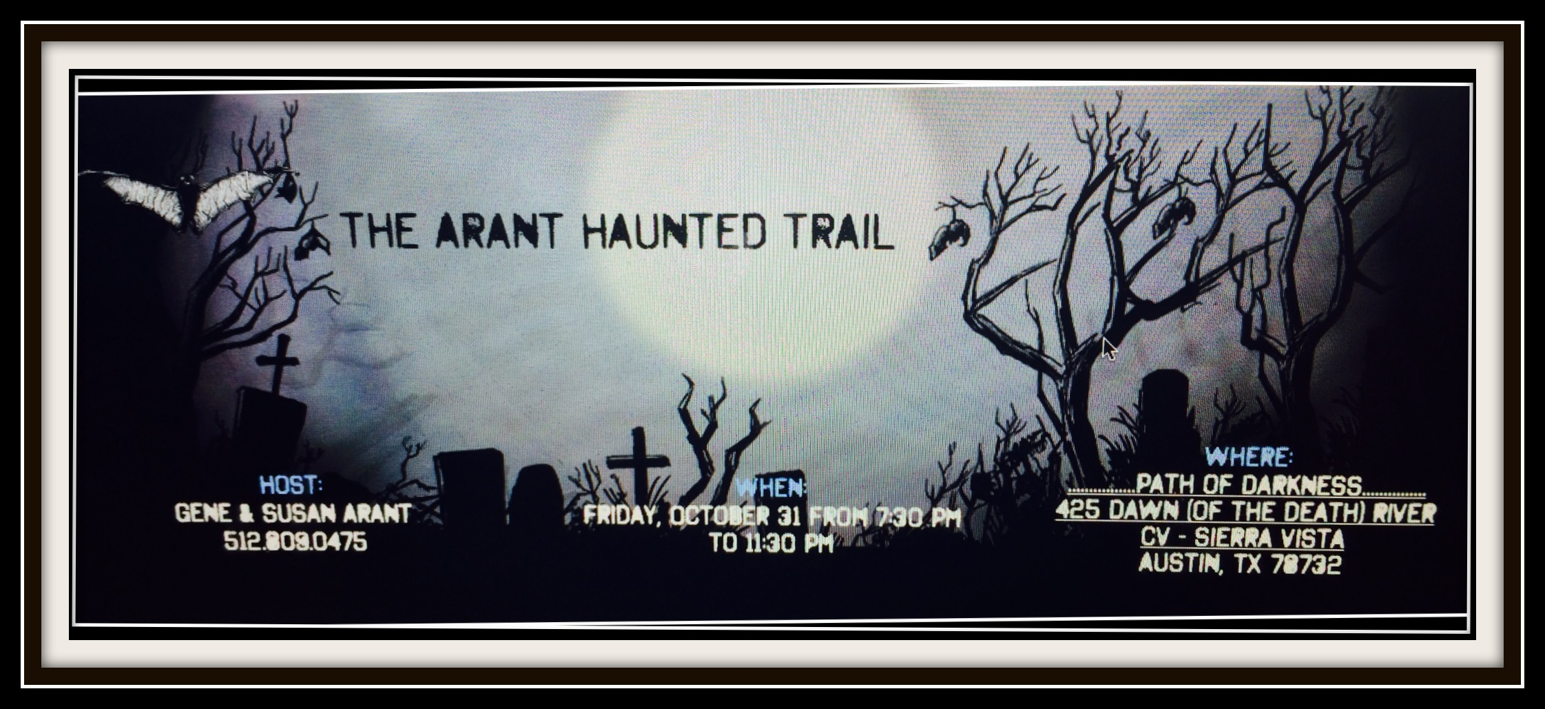 Invitation to Arant Haunted Trail in Steiner