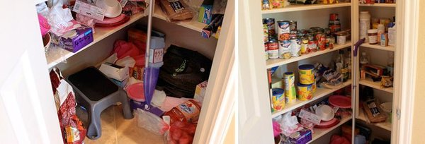 Before Decorchick's lazy susan pantry makeover