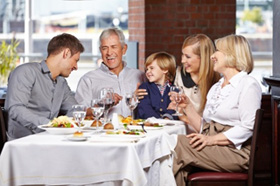 Family Enjoying in a Restaurant