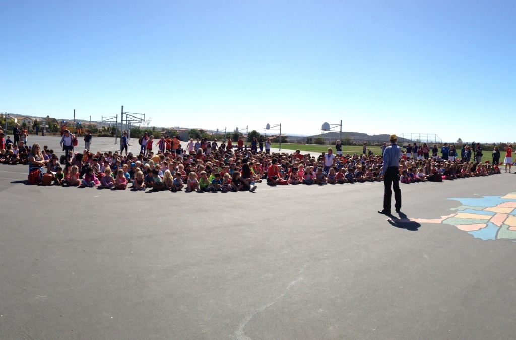 Del Sur Elementary School's Principal Doug Johnson makes the surprise announcement to students, staff and parents.
