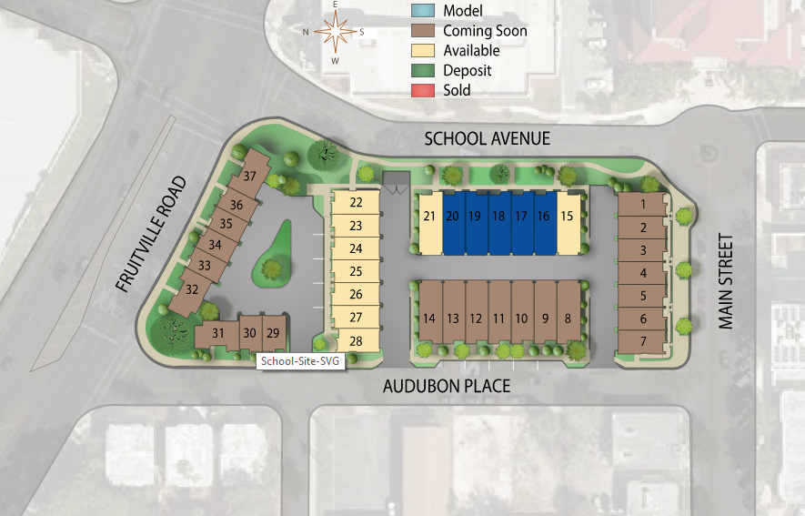 Site plan of Artisan on Main condos