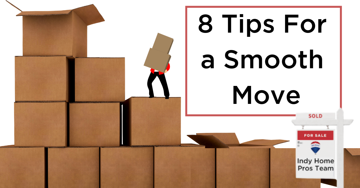 Moving boxes to left, words to right that read 8 Tips to a Smoother Move