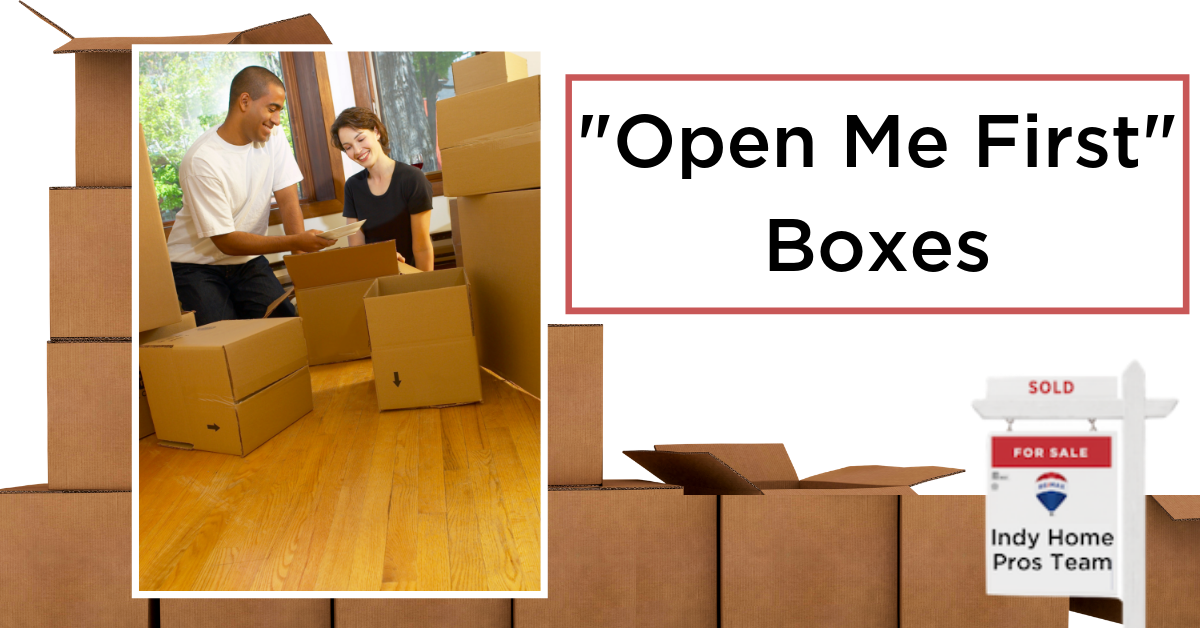 Moving Tips Moving Truck Rental Graphic reading Open Me First Boxes