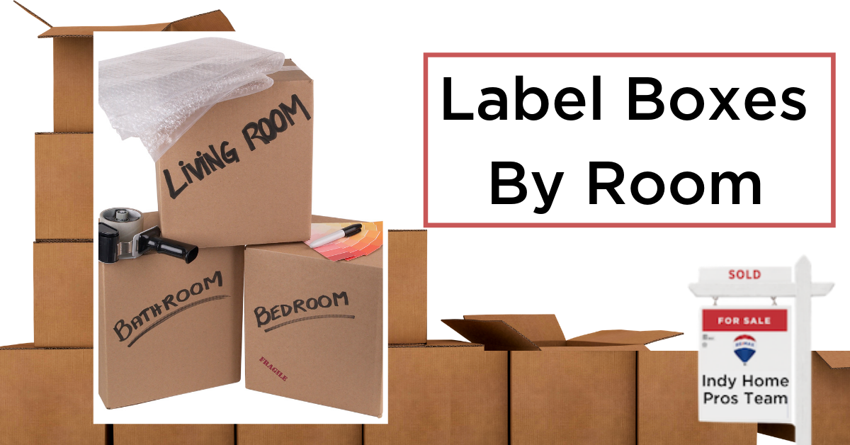 Moving Tips Moving Truck Rental Graphic reading label boxes by room