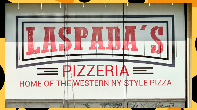Picture of Laspada's Pizza sign in Plainfield Indiana