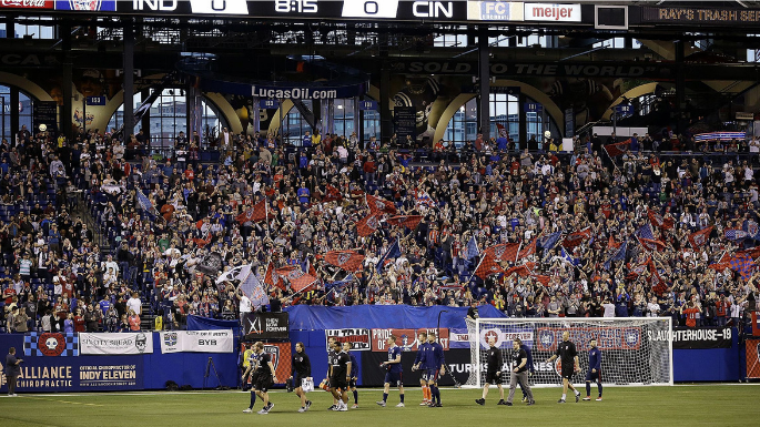 Indianapolis Things To Do Indy Eleven Soccer Lucas Oil Stadium Interior Picture Player and Crowd