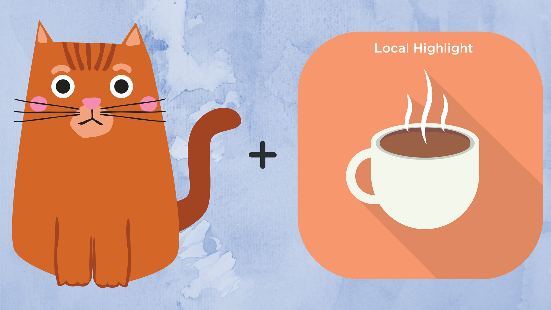Worn blue background. Cat illustration to the left, plus sign in the middle, coffee in coffee cup on right. Meaning Cat plus Coffee