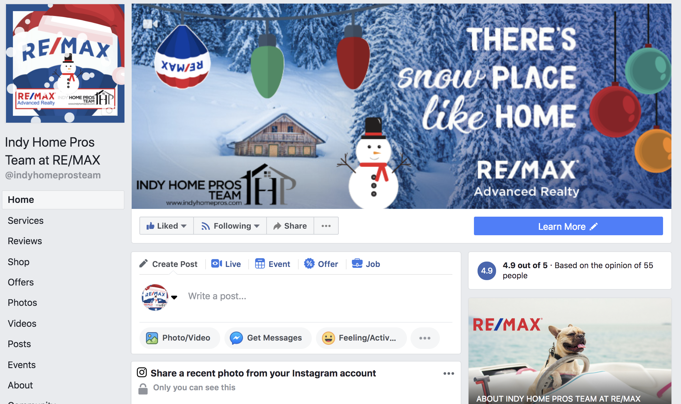 Screenshot of the Indy Home Pros Team Facebook Page