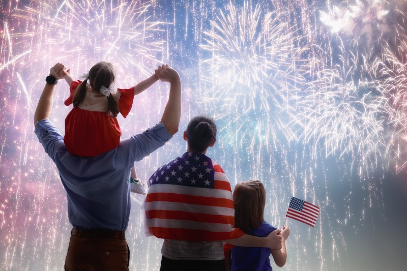 Fourth of July fireworks family watching together american flag