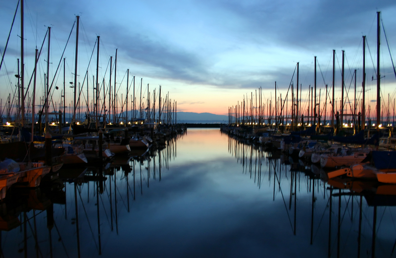 Sunset at Shilshole Marina in Ballard neighborhood Seattle