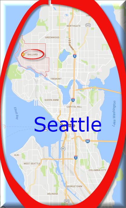 Map showing Ballard neighborhood Seattle