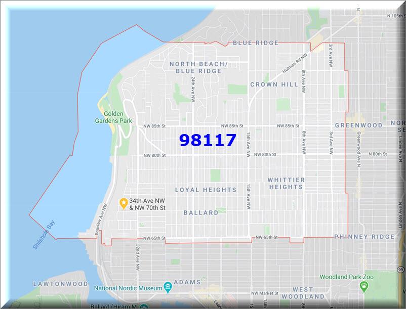 Map of Ballard Seattle zip code 98117