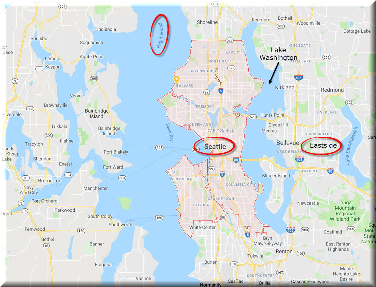 Map of Seattle and the Puget Sound