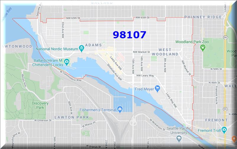 Map of Ballard Seattle zip code 98107