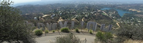 A view of Beachwood Canyon from behind the Hollywood Sign