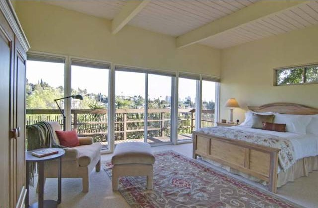 1768 rotary master bedroom with beamed ceiling and teriffic views to downtown Los Angeles